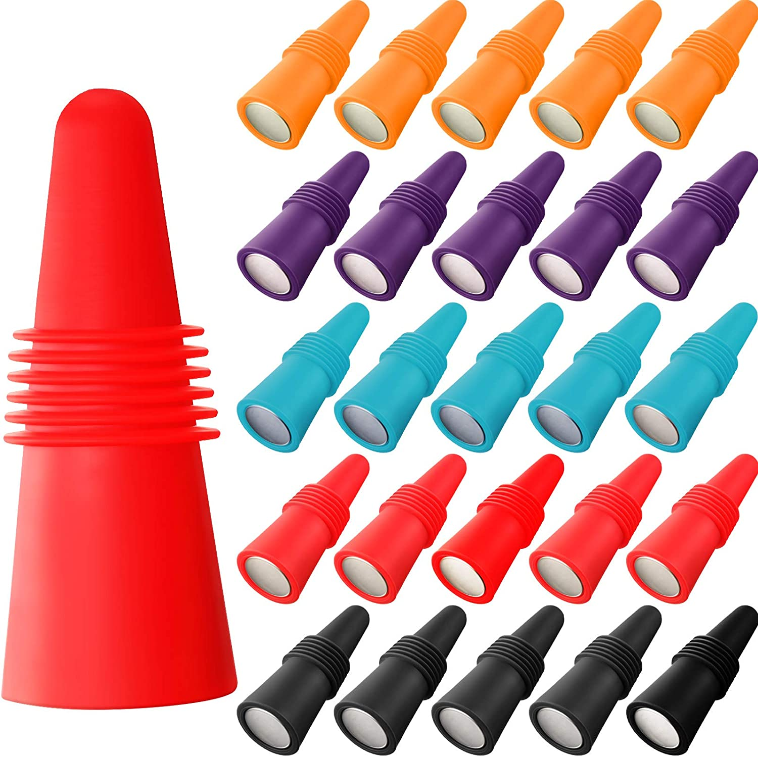 20 Pieces Wine Bottle Stopper Silicone Wine Bottle Sealer Silicone Beverage Bottle Plug Wine and Beverage Bottle Stopper Rubber Wine Saver for Bar, Kitchen, Holiday Party, Wedding