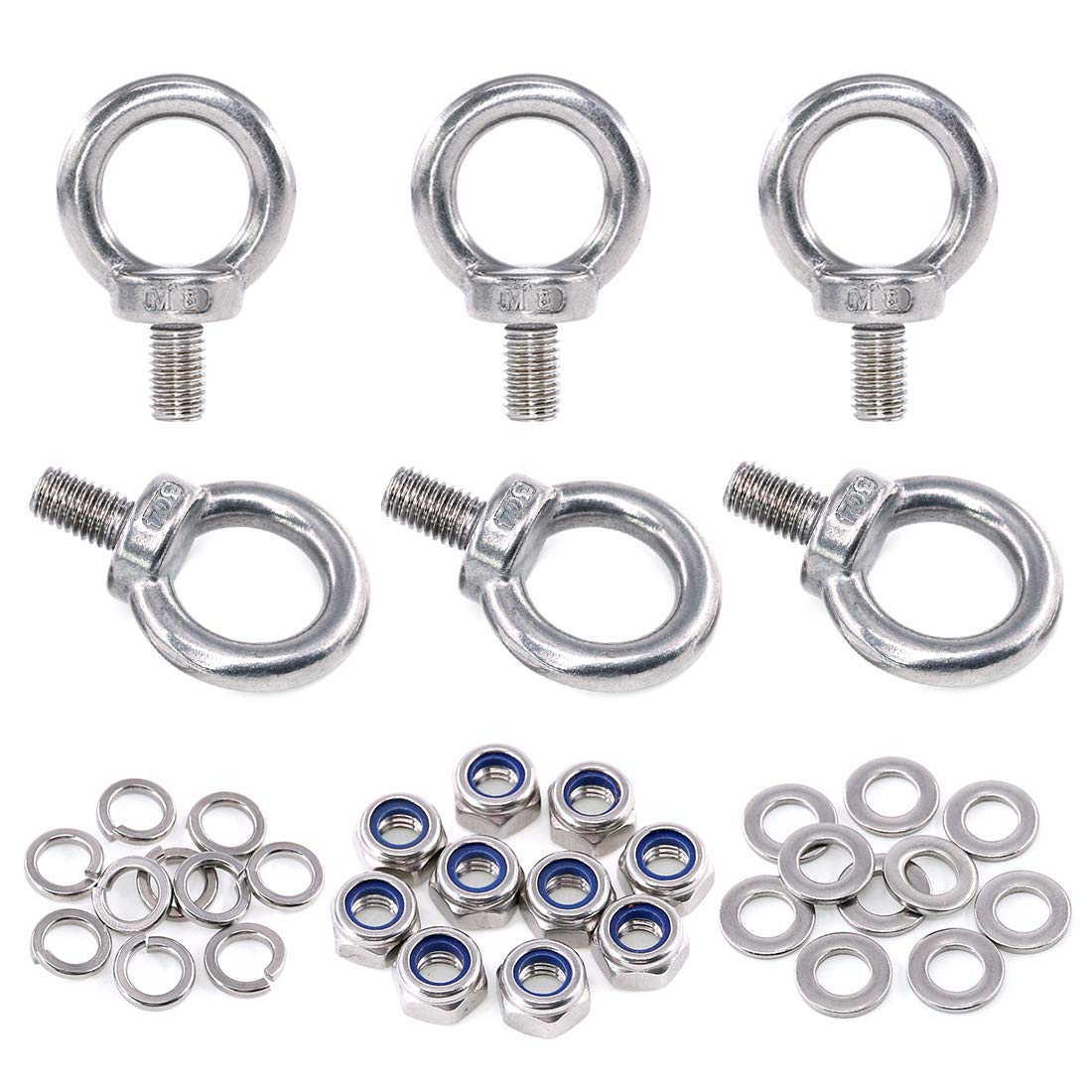 Swpeet 36Pcs 304 Stainless Steel M8 Male Thread Lifting Ring Eye Bolt Kit, Including 6Pcs M8 Eye Bolt with 10Pcs Lock Nuts, 10Pcs Lock Washers and 10Pcs Flat Washers