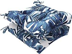 """LVTXIII Indoor/Outdoor Square Tufted Wicker Seat Cushions Pack of 2, Patio Decorative Thick Chair Pads Seat Cushions Set for Patio Garden Home, 19""""x19""""x5"""", Palm Blue"""