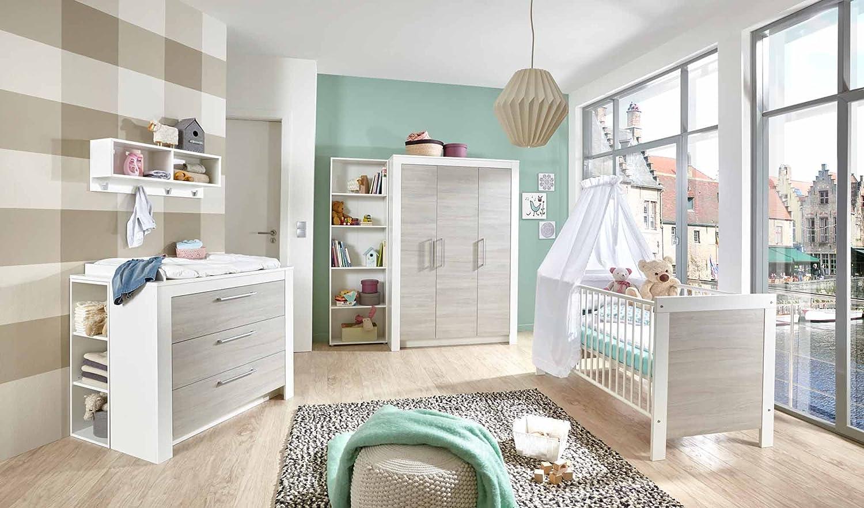 Babyzimmer, Kinderzimmer, Babymöbel, Komplett-Set, Babyausstattung, Babybett, Wickelkommode, Schrank, Mädchen, Junge, weiß, silber, grau, Ulme