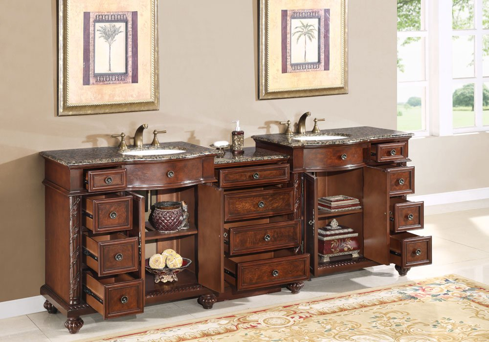 Double Sink Baltic Brown Granite Top Bathroom Vanity Cabinet - Bathroom vanities naperville