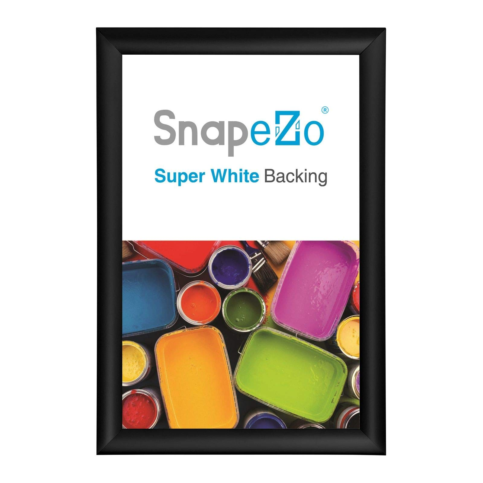 SnapeZo Poster Frame 12x18 Inches, Black 1'' Aluminum Profile, Front-Loading Snap Frame, Wall Mounting, Sleek Series