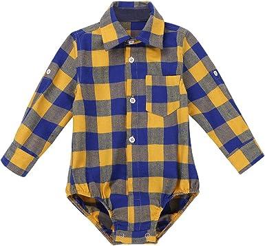 iixpin Mameluco Infantil de Algodón Manga Larga Camisa a Cuadros Invierno Otoño Mono Casual Bebé Niños 9-24 Meses: Amazon.es: Ropa y accesorios