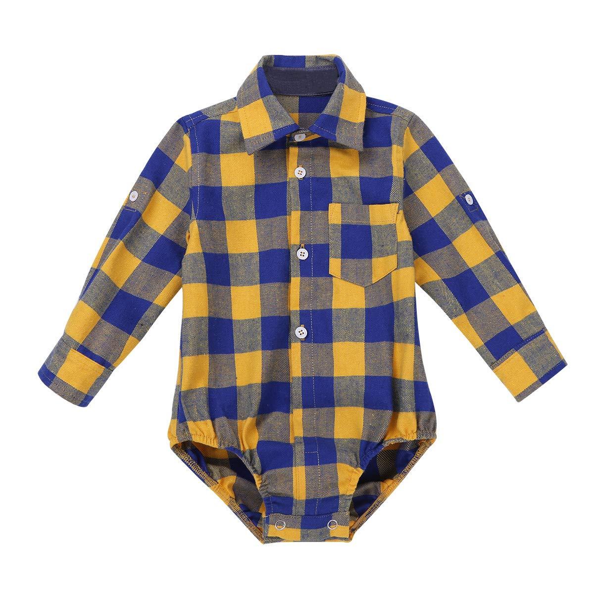 Freebily Unisex Baby Langarmbody Jungen Mädchen Hemd-Body Strampler Kariert Hemd Kleinkind Trachtenhemd mit Kragen Spielanzug Casual Hemd 3 Monate-24 Monate