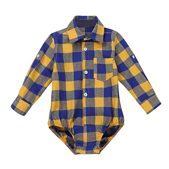 iEFiEL Toddler Boys Plaid Short Long Sleeve Button-up Bodysuit Formal Dress Shirt Baby Gentleman Romper Wedding Party Outfits