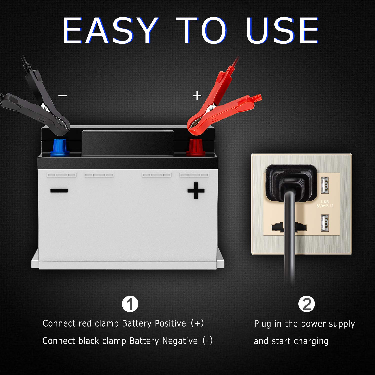 6A 12V Fully Automatic Car Charger with LCD Screen Smart Battery Charger /& Maintainer Maintain And Repair Batteries for Various Vehicle Aibeau Car Battery Charger Used to Charge