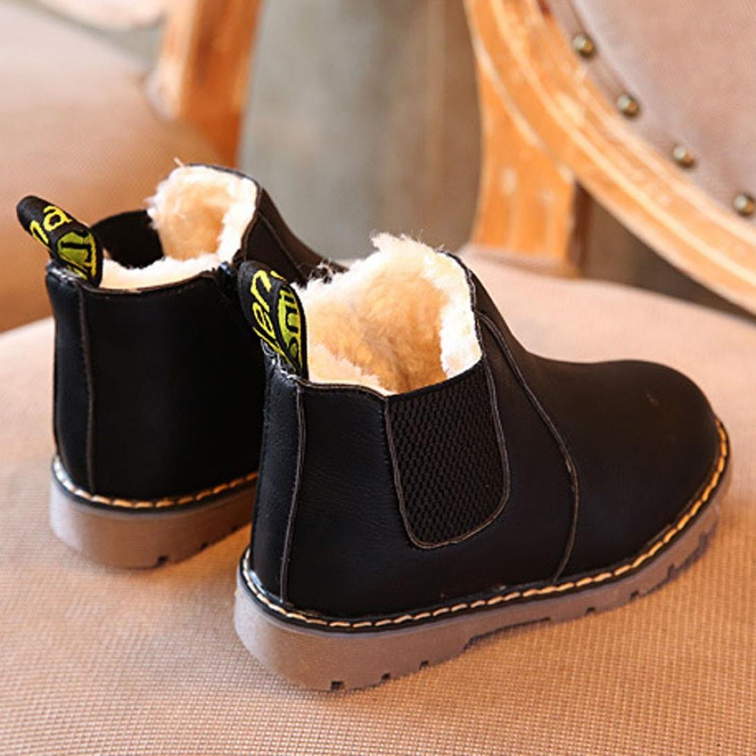 Amiley Kids Boys Girls Winter Snow Keep Warm Ankle Boots Zipper Kids Shoes