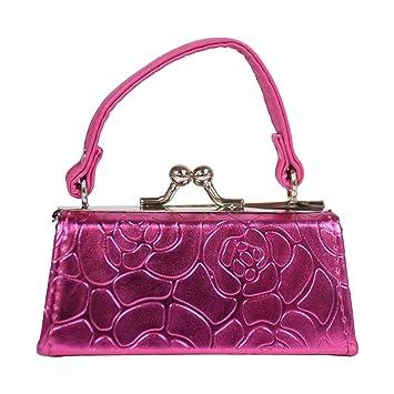 c89e7f56d09a Metallic Floral Lipstick Case with Handle Mini Mahjong Coin Purse - Hot Pink
