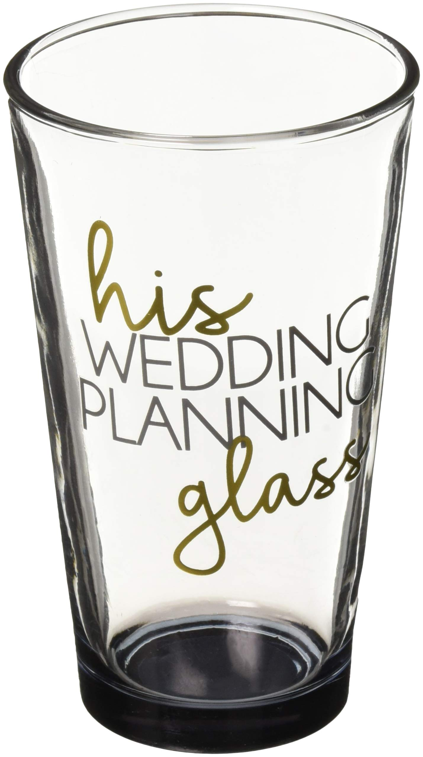 Pavilion Gift Company 61139 His Wedding Planning Glass-16 oz 16 oz Pint Glass Tumbler, Black
