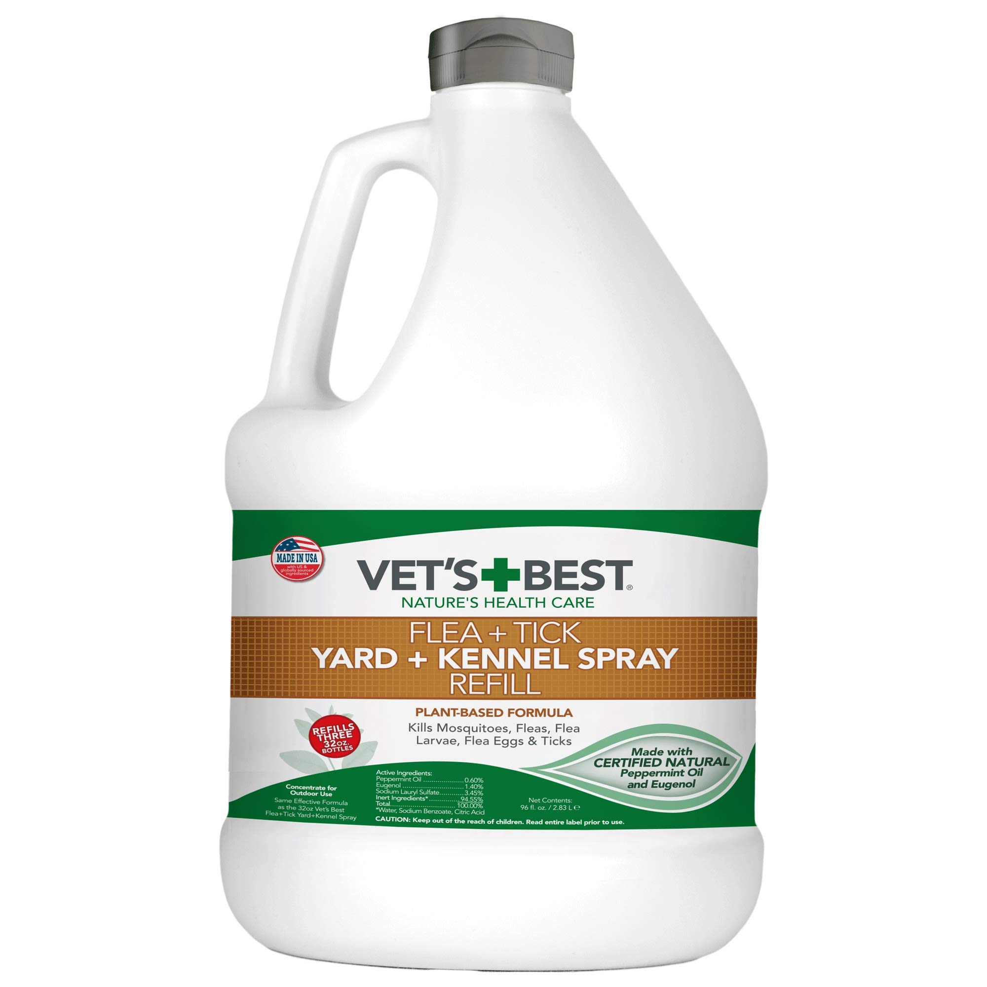 Vet's Best Flea and Tick Yard and Kennel Spray | Yard Treatment Spray Kills Mosquitoes, Fleas, and Ticks with Certified Natural Oils | Plant Safe | 96 Ounces Refill