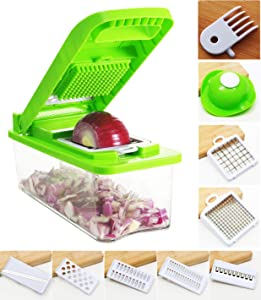 Vegetable Chopper Onion Chopper, Manual Veggie Chopper Potato Cutter and Mincer, Food Dicer Handheld, Multi-Function Mandoline Slicer Salad Cutter with Container