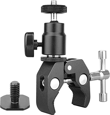 Ballhead Clamp Camera Mount Tripod Head Hot Shoe Adapter for Canon Nikon