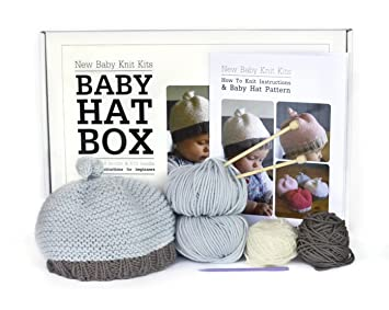 Beginner Baby Hat Knitting Kit - 100% luxury merino wool - Sizes 0-6 & 6-12  months - Includes needles, pattern, yarn and learn to knit instructions