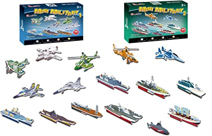 3D Puzzle Studio Mini Military Army Puzzles for Kids includes Airplanes Fighter Jets Boats Ships Helicopters Aircraft Carriers 92 Pieces