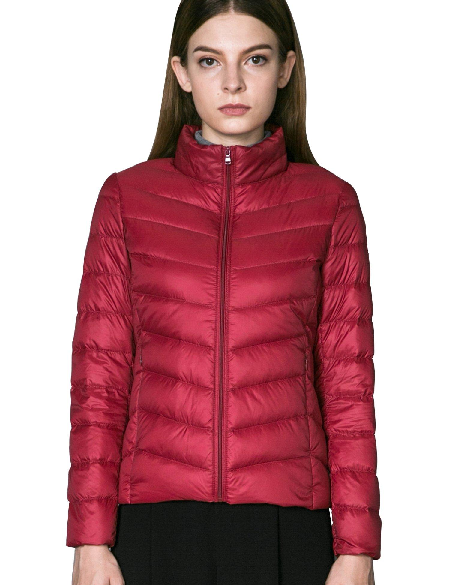 CHERRY CHICK Women's Light Puffer Down Jacket (S, Red-LD)