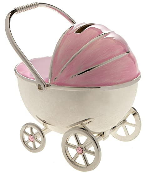 Image Unavailable. Image not available for. Colour: Christening Gift Silver Plated Pink Enamelled Pram Money Box