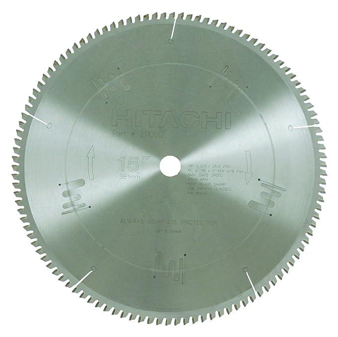 Hitachi 211001 110 Teeth Tungsten Carbide Tipped 15 Inch Triple Chip Saw Blade