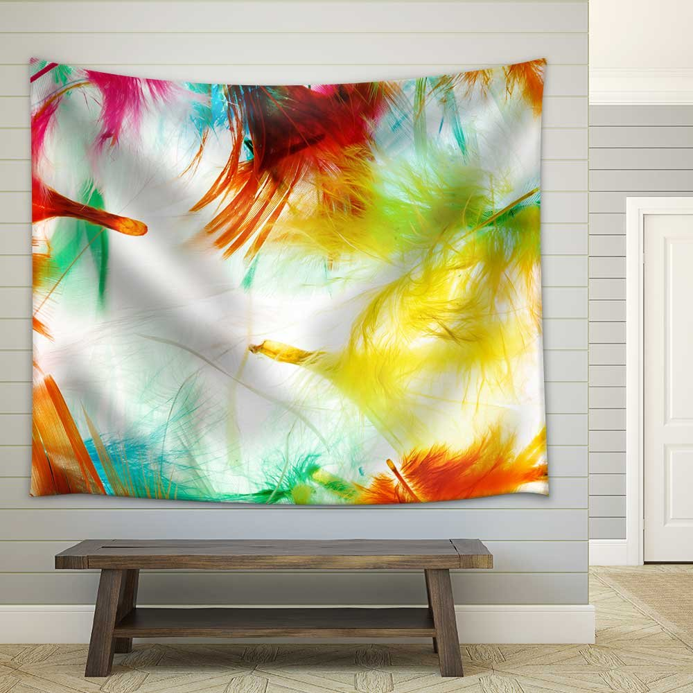 Colorful feathers Fabric Wall Tapestry - Tapestry | Wall26