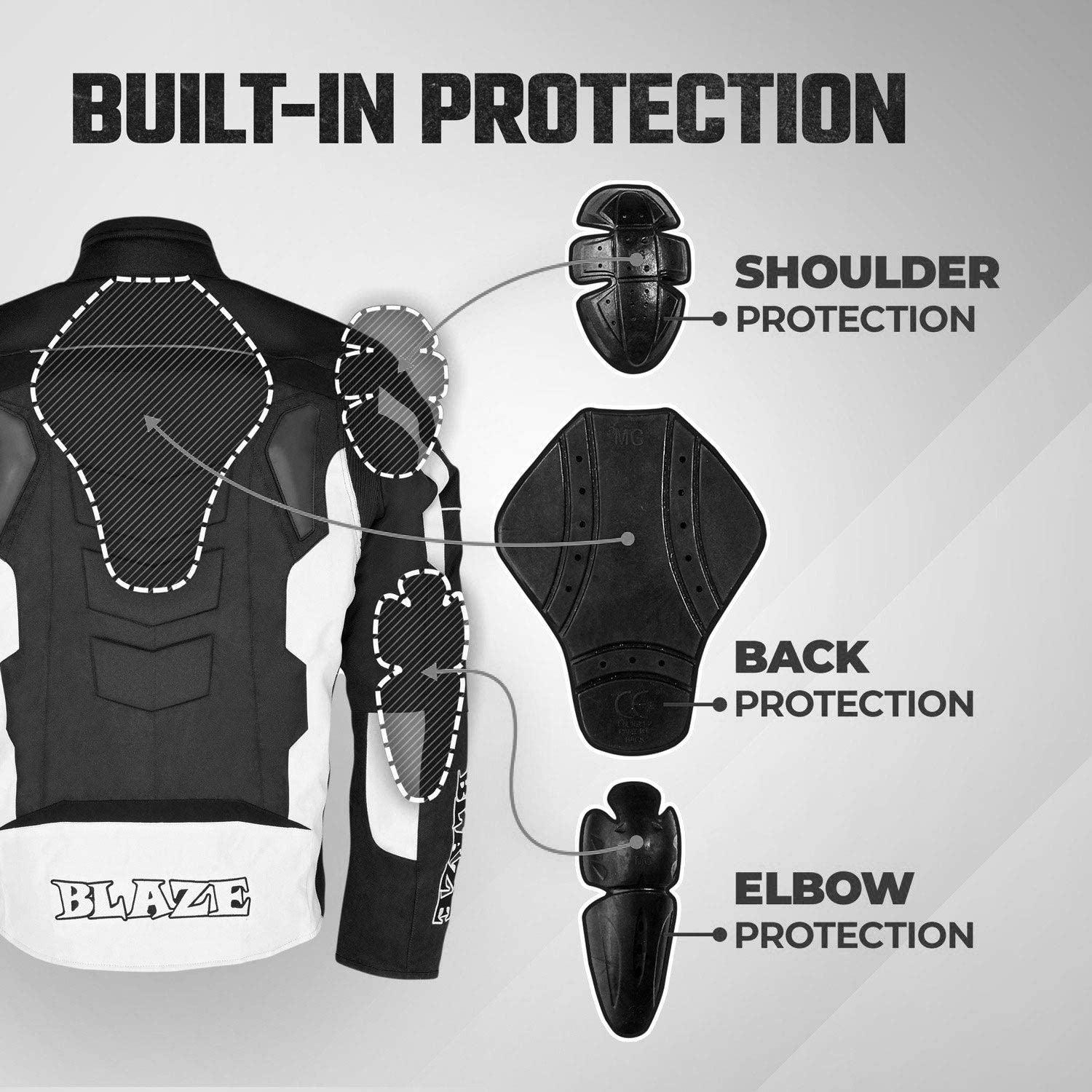 White, XL Motorcycle Riding padded Breathable Jacket Waterproof Textile Full Body Protection Gear Motorbike accessories for men women Winter Summer Armour
