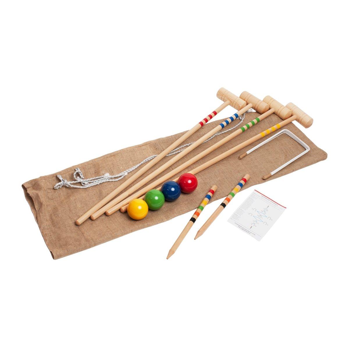 Krocket/Croquet für 4 Spieler (100cm -Erwachsenengröße) im Jutesack 3244