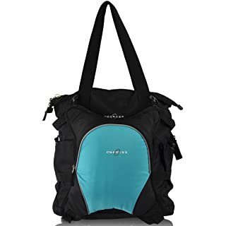 Obersee Innsbruck Diaper Bag Tote with Detachable Cooler, Black/Turquoise