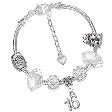 714c51325 16th Birthday Card and Silver Charm Bracelet Gift Box Jewellery Set for  Girls (1. Iced Silver): Amazon.co.uk: Jewellery