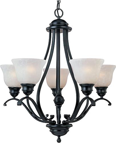 Maxim Lighting 11805ICBK Linda – Five Light Chandelier, Black Finish with Ice Glass
