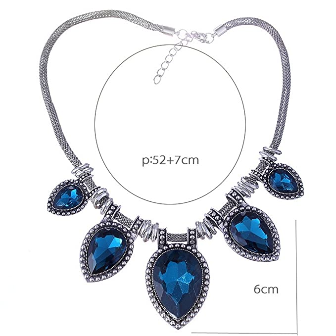 Amazon.com: Acrylic Faceted Teardrop Bead Chunky Black Chain Bib Statement Collar Necklace: Sports & Outdoors