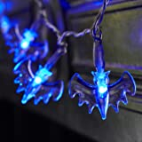 Lights4fun Battery Operated Halloween Bat Fairy Lights with 20 Blue LEDs