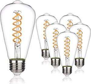 MYEMITTING Vintage LED Edison Bulbs, 6W Equivalent to 60W, Dimmable, High Brightness 600LM Warm White 2700K, ST58 Antique Flexible Spial LED Filament Bulbs, E26 Medium Base, Clear Glass 6 Pack