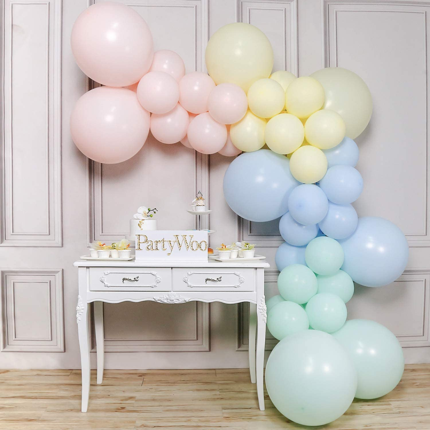 PartyWoo Pastel Balloons, Pastel Pink Balloons, Pastel Blue Balloons, Pastel Yellow Balloons, Mint Green Balloons, Giant Balloons Pastel for Pastel Party Decorations, Pastel Rainbow Party Supplies