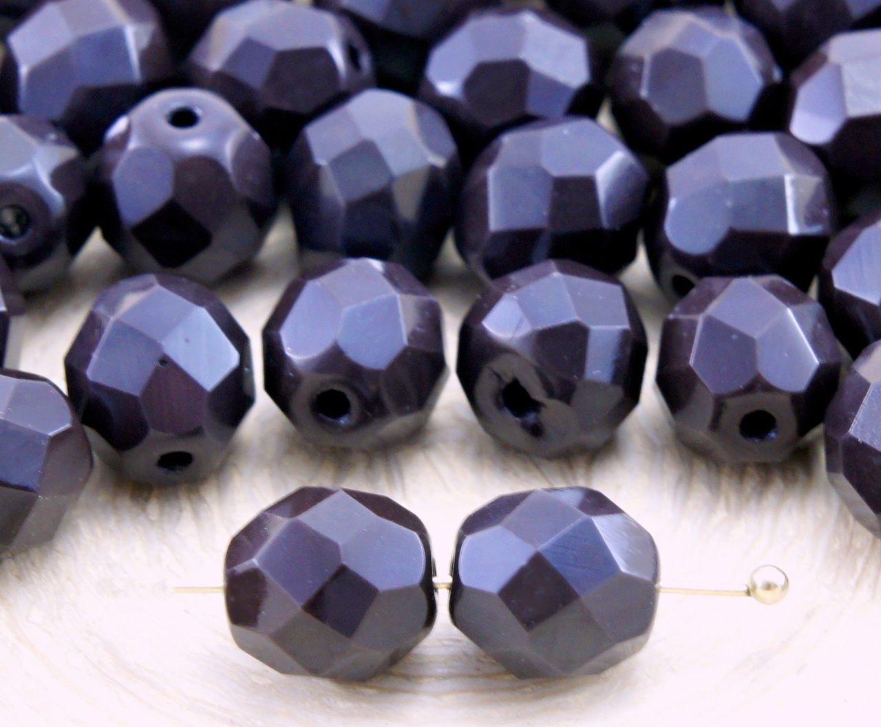 20pcs Opaco Marr/ón Chocolate Oscuro Ronda Facetas de Fuego Pulido Espaciador checa Perlas de Vidrio de 8mm
