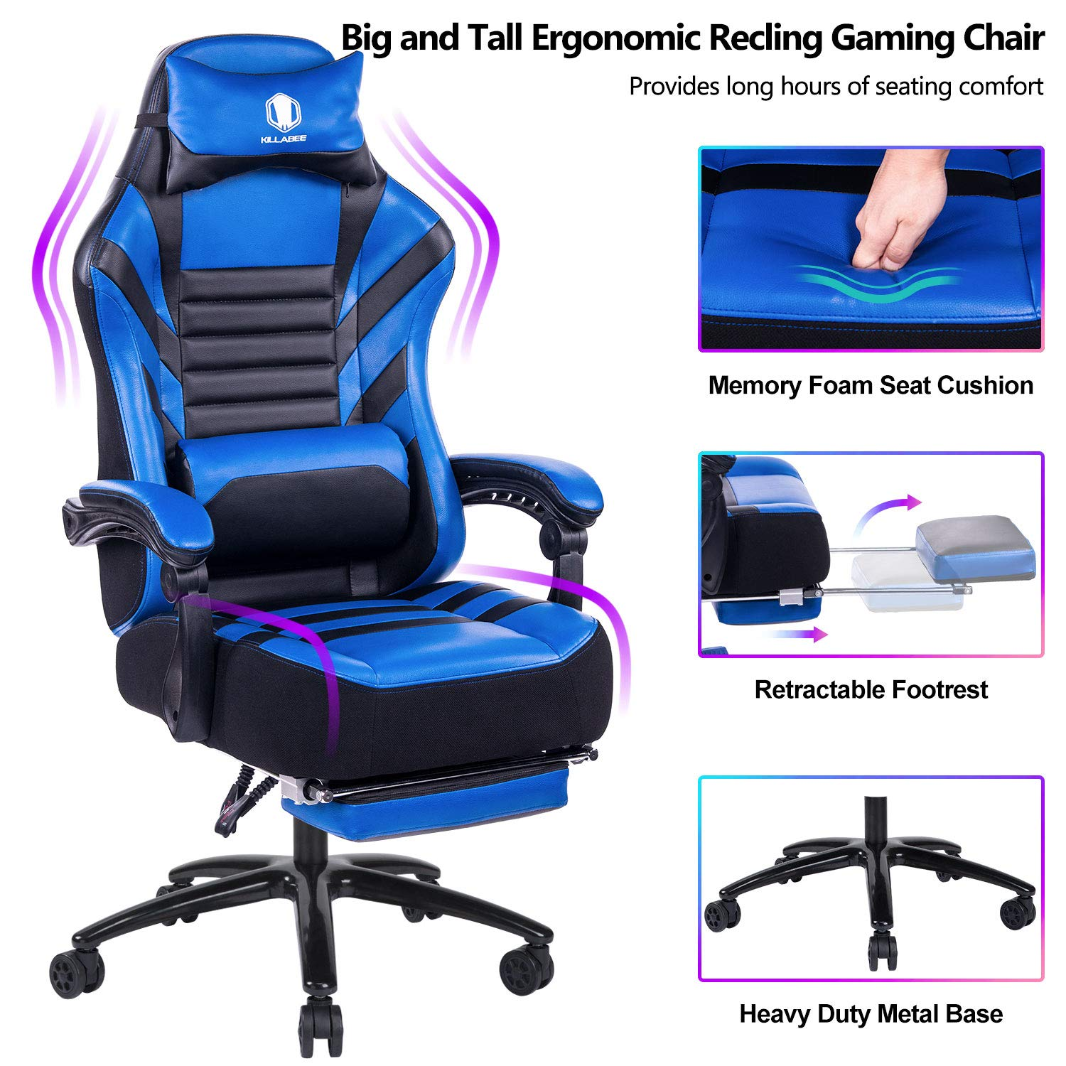 VON RACER Big & Tall 400lb Memory Foam Reclining Gaming Chair Metal Base - Adjustable Back Angle and Retractable Footrest Ergonomic High-Back Leather Racing Executive Computer Desk Office Chair, Blue by VON RACER