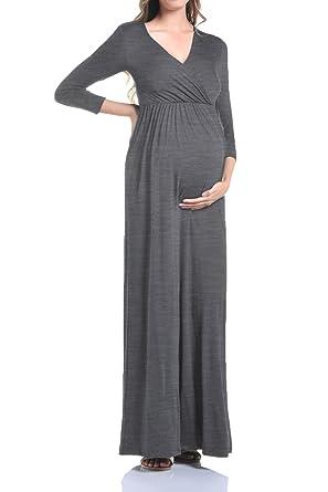 021070a36ba72 Beachcoco Maternity Women's V-Neck 3/4 Sleeve Nursing Maxi Dress (S,