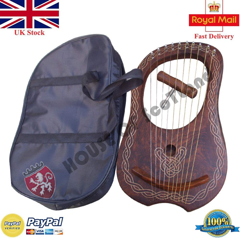 Traditional Lyre Harp 10 Metal Strings Rosewood with Carrying Bag & Key