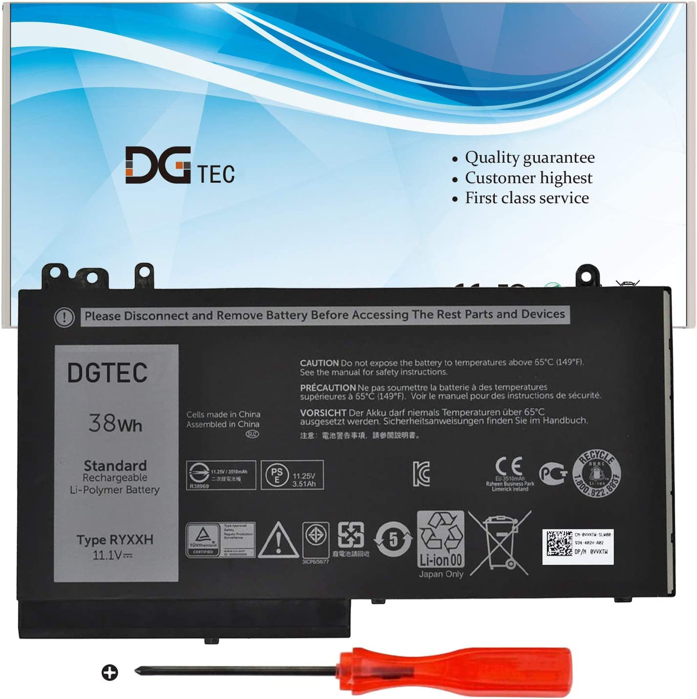 DGTEC RYXXH Laptop Battery Replacement for Dell Latitude 12 5000 E5250 (P25S001) Latitude E5450 E5550 Latitude 11 3150 3160 Series 9P4D2 YD8XC 5TFCY VVXTW VY9ND R5MD0(11.1V 38WH)