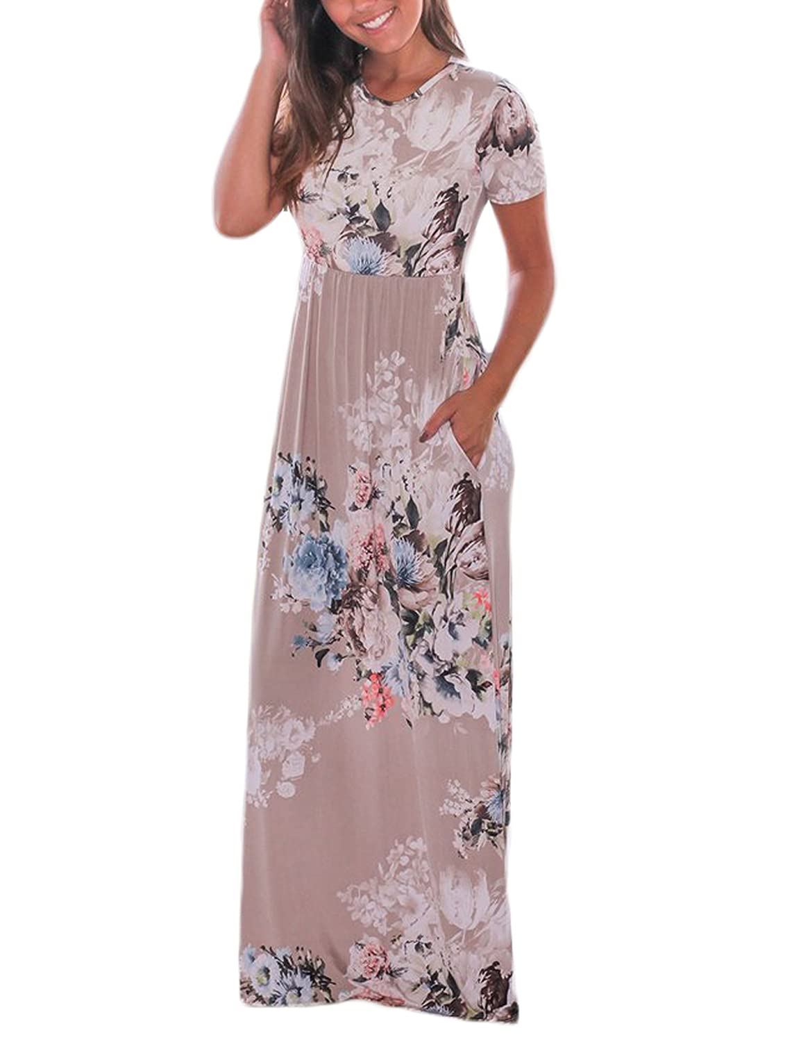 6cef7588c3c Vemper Floral Print Maxi Dress Short Long Sleeve Pockets Long Casual Dress  at Amazon Women s Clothing store
