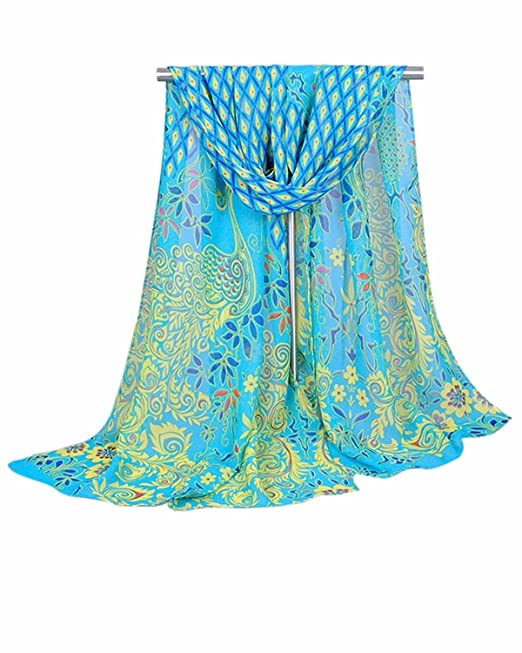1920s Style Shawls, Wraps, Scarves Fortunings JDS Peacock Long Soft Shawl Silk Chiffon Scarf for Women $6.57 AT vintagedancer.com