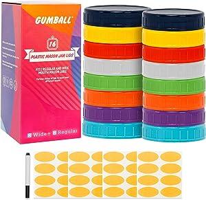 GUMBALL 16 Pack Plastic Mason Jar Lids Fits Ball, Kerr & More, 8 Wide Mouth & 8 Regular Mouth Mason Jar Lids, Food-Grade Storage Caps for Mason Jars