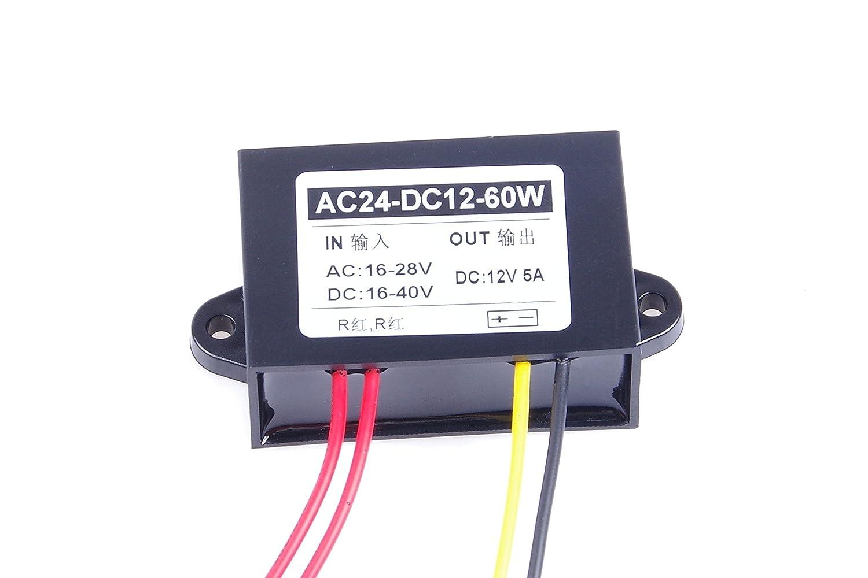 KNACRO AC//DC TO DC Converter AC 16-28V//DC 16-40V Step Down to 12V//5A Power Supply Module AC//DC TO DC Converter AC 16-28V//DC 16-40V Step Down to 12V//5A 12V 5A MAX 60W Power Supply Module