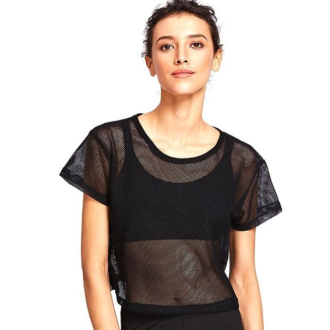 separation shoes c578e 00839 Baoblaze Damen Mesh Netz Shirt Transparent Sport T-Shirt Fitness Gym Yoga  Tank Top