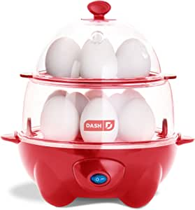 Dash Deluxe Rapid Cooker Electric for Hard Boiled, Poached, Scrambled Eggs, Omelets, Steamed Vegetables, Seafood, Dumplings & More, 12 capacity, with Auto Shut Off Feature, Red
