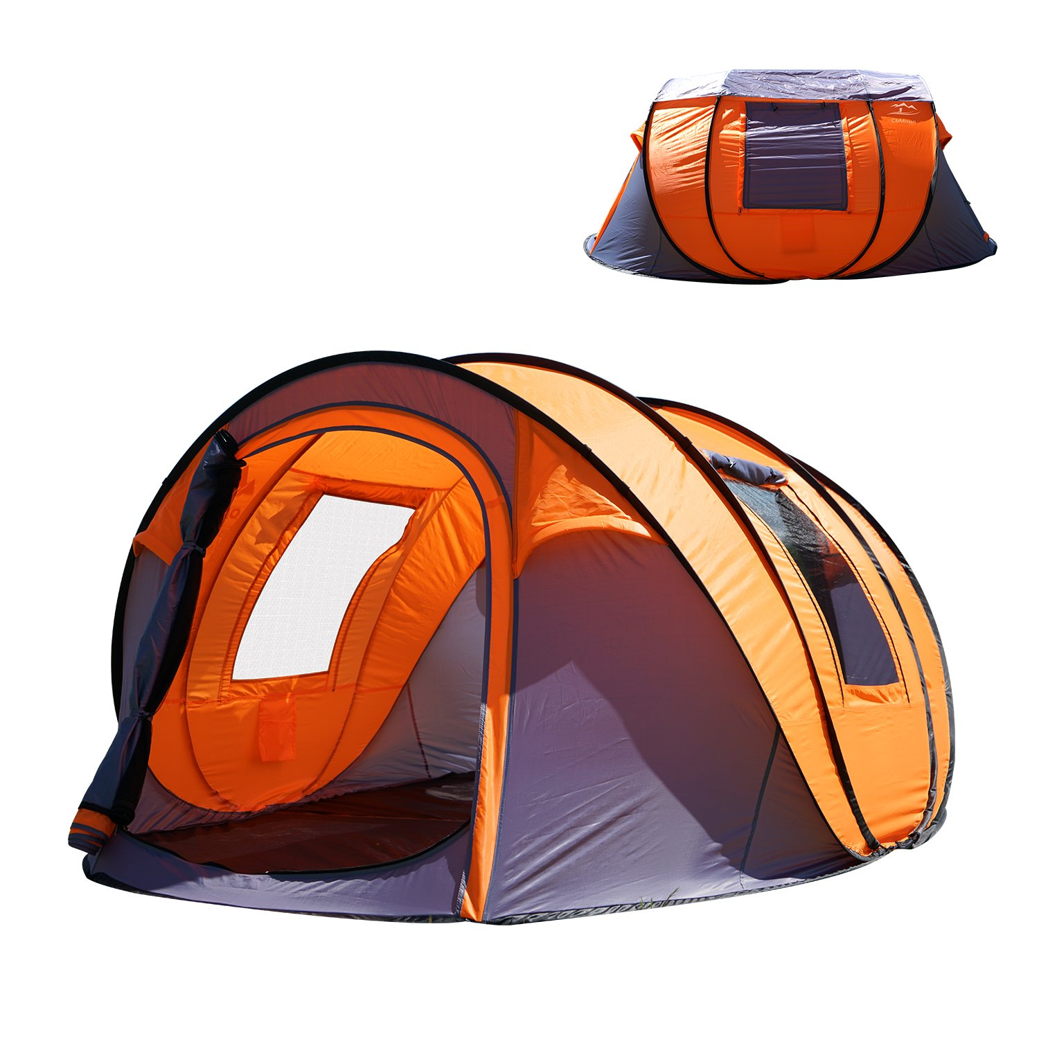 """Oileus XL Pop Up Tents Camping 4-6 Person Tent Sky-Window(45""""x 25"""") Instant Camping Tent 14 Reinforced Steel Stakes & Carrying 114""""L 78""""W 51""""H"""