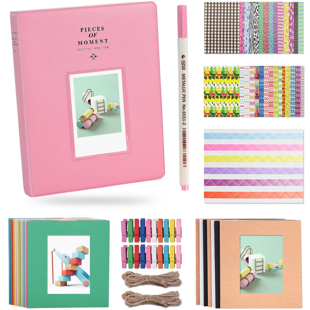 Katia 128 Pockets 3-inch Photo Album Accessories for Fujifilm Instax Mini 7s/8/9/25/50s Instant Camera with Hanging Frame/Stickers/Pen -Flamingo Pink