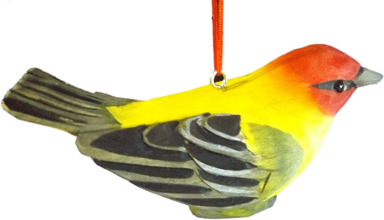 Wood Carved Oriole Bird Christmas Tree Ornament Home Kitchen