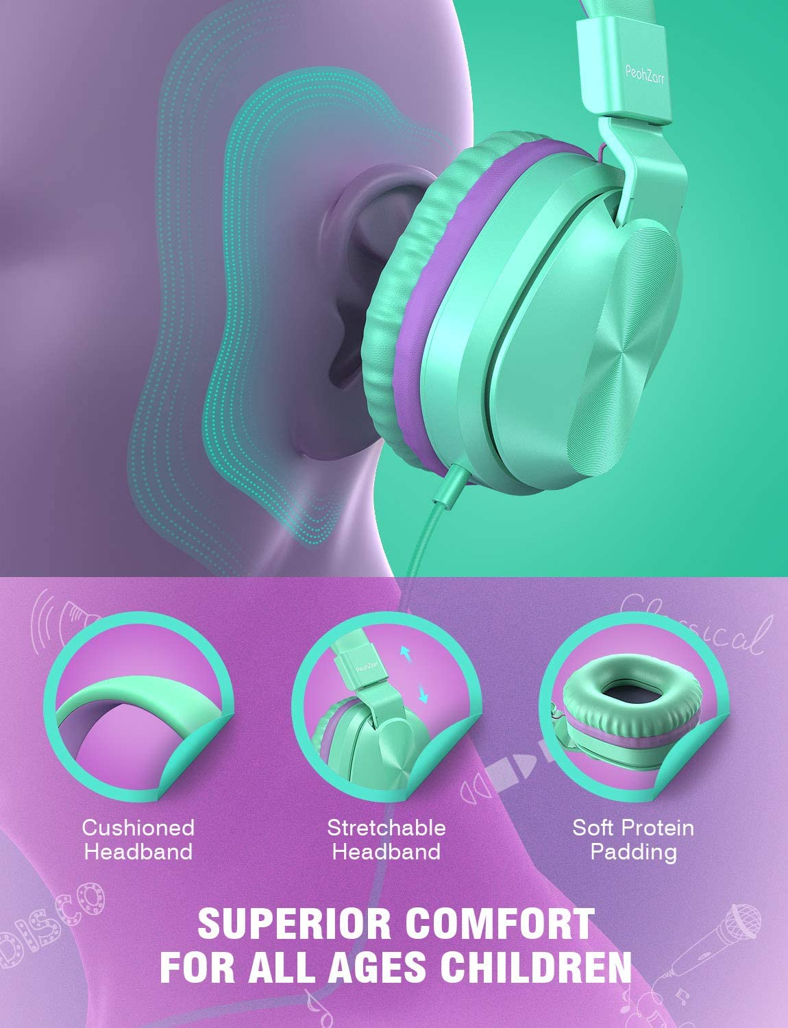 PeohZarr Kids Headphones With Microphone, 85/94dB Safe Volume Limited On-Ear Headphones For Kids Girls Boys, Foldable 3.5mm Jack Stereo Wired Headphones For Cellphones/Tablet/Kindle/School/Travel