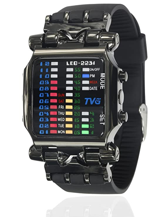 Review Cool Creative Funky Fashion Watch Black Men Boys PU Rubber Band Colorful LED Date Day Binary Digital Clock Casual Gift Watches