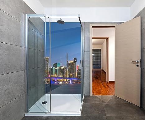 wandmotiv24 Cubierta Trasera de Ducha Panorama del Horizonte del Centro de Miami 70 x 200 cm (W x H) - 3 mm de Aluminio Diseño de Pared de Ducha, sin Juntas. M0932: Amazon.es: Hogar