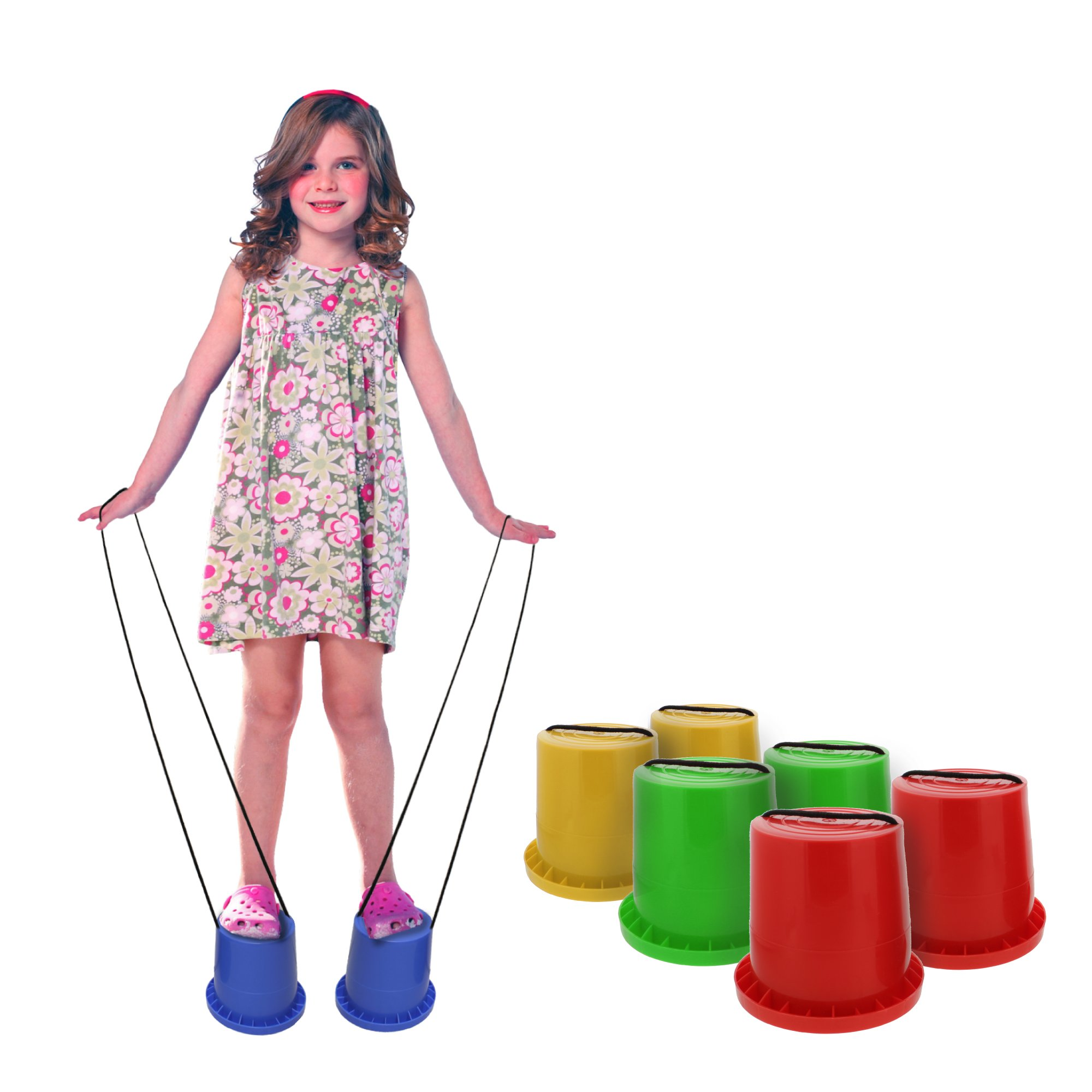 Get Out! Bucket Stilts in Blue – Kid Stilt 2-Pack (Pair) Walking Cups for Children – Kids Stepper Toy Walking Stilts