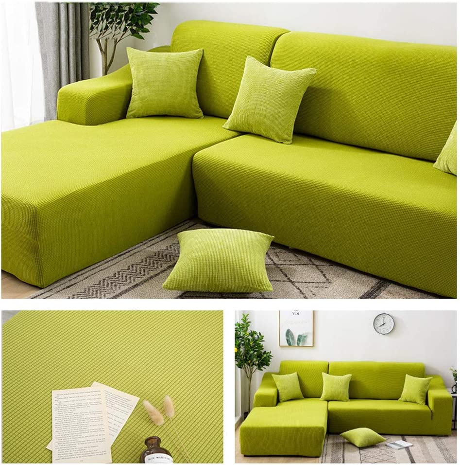 a 90-140cm 35-55inch Elastic Full Cover Slipcover Sofa,1-Piece L Shape Sofa Covers Waterproof Solid Color Couch Covers Machine Washable